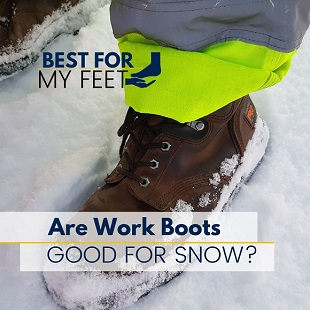 working in the snow wearing safety work boots
