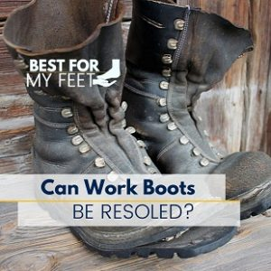 a pair of old work boots that need to be resoled