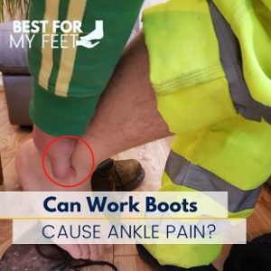 a construction worker is holding his knee showing a lot of pain due to the work boots he's wearing