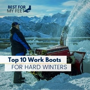a man working the snow wearing a pair of safety boots for winter