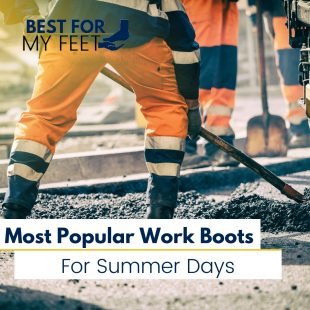 a construction operative working on the road under the hot summer sun wearing the best summer work boots possible for this type of weather