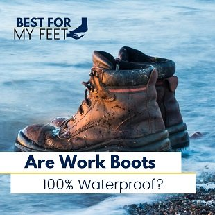 a pair of work boots inside the water testing to see how long they stay dry before the water can penetrate inside