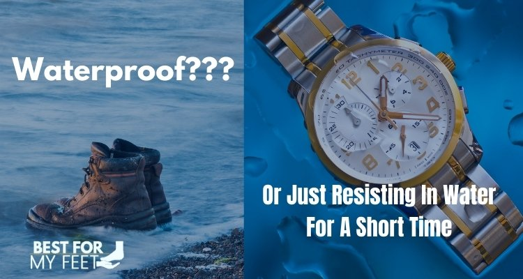 a pair of waterproof work boots inside the water and a watch represinting how much these work can stay in water