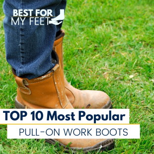 a person standing in the grass wearing a pair of great pull on work boots