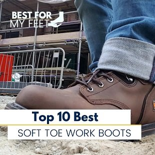 a person wearing one of the best soft toe work boots which is the timberland pro pit boss