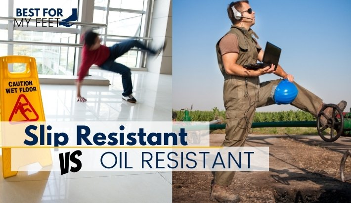 two different workers in two different scenarios picturing what are the differences between oil resitant and slip resitant features in a work boot