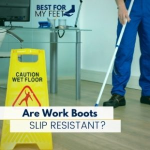 a person cleaning the floor with a mop and water showing its slip resistant work boots