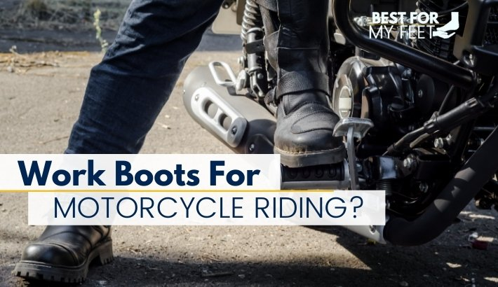 in the image we have two motorcycle riders on a motorbike being the featured image for the are work boots good for motorcycle riding article for bestformyfeet.com