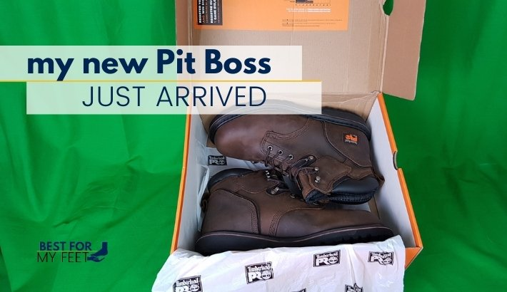 an image of the timberland pro pit boss work boots inside the box just received by the owner who's making a review of them on this wesbite