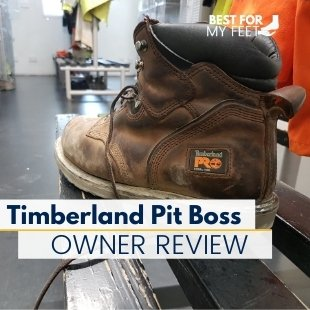 in the image we have a boot on a bench in a locker room where we're going to do a review of the timberland pro pit boss steel toe work boot.