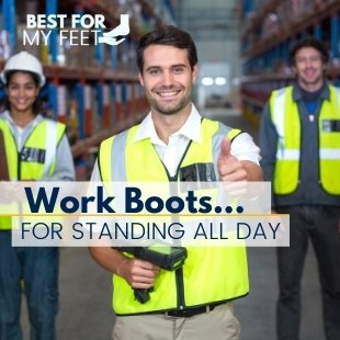 a group of workers in a warehouse where they spend their day working all day standing and wlaking on hard concrete floors