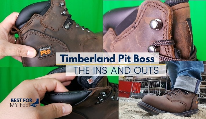 an image showcasing 4 different parts of the timberland pro pit boss work boot in the section of the article where we're going to review each of the feature the boot has