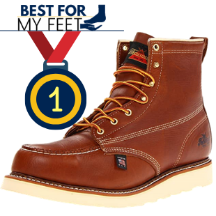 the left side of the thorogood work boot featured in the best concrete work boot for standing and walking all day