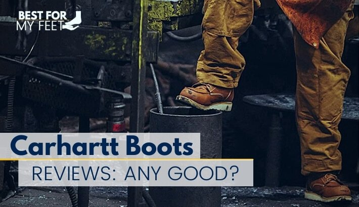 an iron worker wearing a pair of some of the best safety work boots from the brand Carhartt