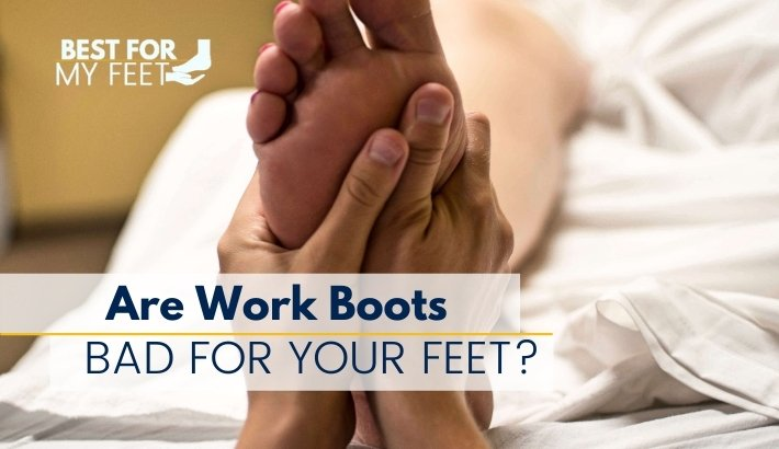 a professional massagist doing a message on someones feet after wearing work boots for too many hours