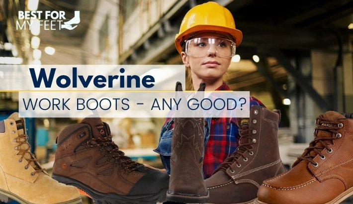 a worker in the background witha few pair of work boots from wolverine