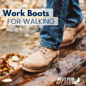 a person walking in the park wearing a pair of working boots