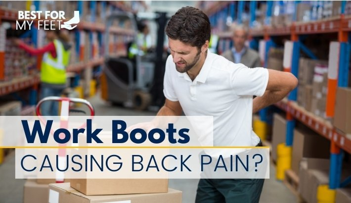 a warehouse worker having a back pain due to standing too long on his feet wearing work boots