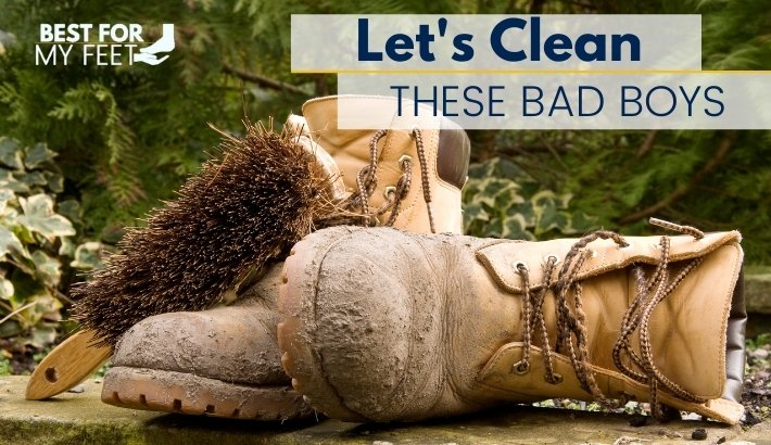 a pair of dirty safety toe work boots and a brush for cleaning work boots