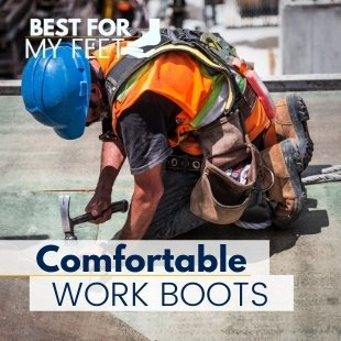 a construction worker wearing a very comfortable pair of work boots whilst doing his job