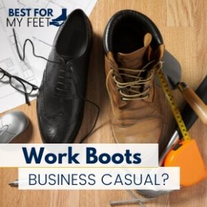 a pair of work boots next to a pair of social shoes showing both in a office environment