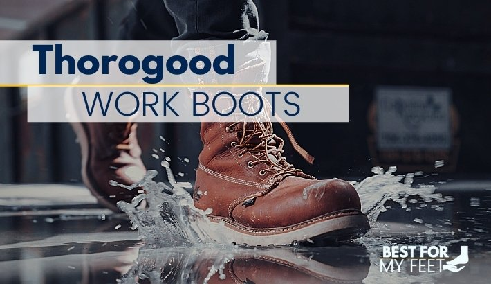 a person walking through water wearing a pair of great thorogood work boots