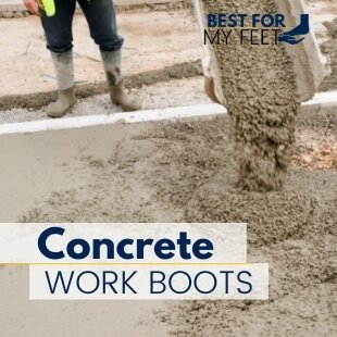 a construction worker is pouring concrete and he's protected by wearing a pair of rubber boots