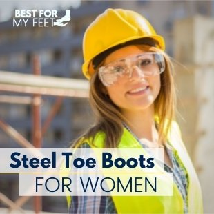 a construction lady wearing her safety helmet and other protective gear such as hi vis and womens steel toe work boots