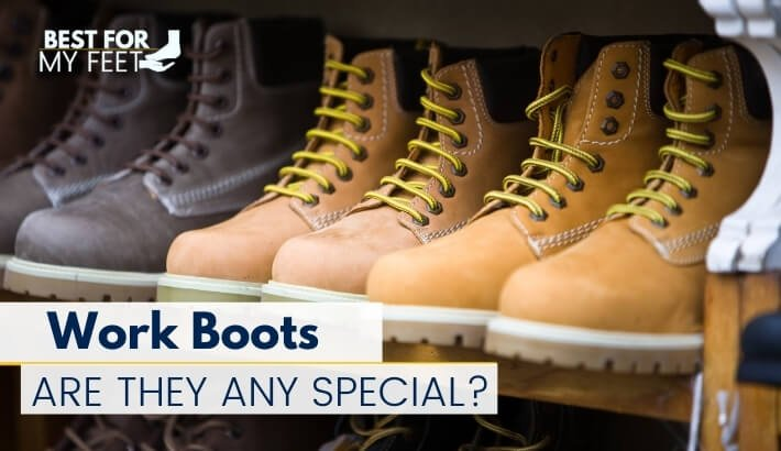 a few pairs of safety toe work boots on a shelf being the featured image of the article titled what work boots are used for?