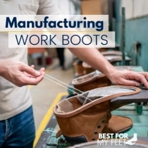 a worker manufacturing a pair of work boots