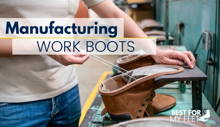 a worker in a work boot factory manufacturing a pair of work boots