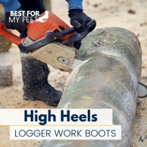 a logger wearing a pair of high heel logger work boots and cutting a tree