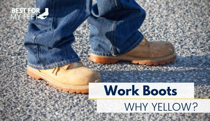 a construction worker wearing yellow work boots