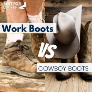 """a person wearing a pair of work boots and another person wearing a pair of cowboys boots. this is mage is the featured image for the article """"work boots versus cowboy boots"""""""