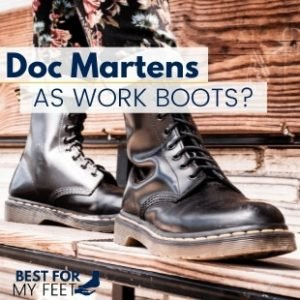 a person working wearing a pair of safety boots from doc martens