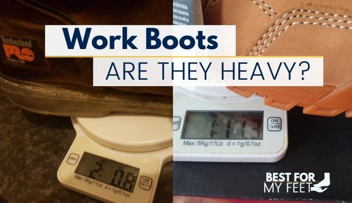 two pair of safety work boots on a scale showing how much they weigh