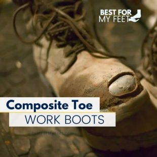 a used work boot showing off the toe protection of the boot which is made from carbon fibre or composite toe as is mostly known.