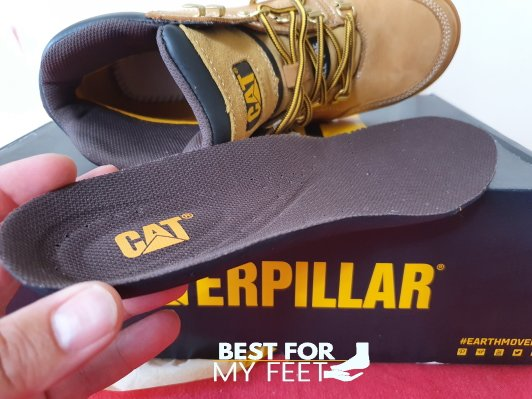 a removable insole from a work boots called caterpillar outline