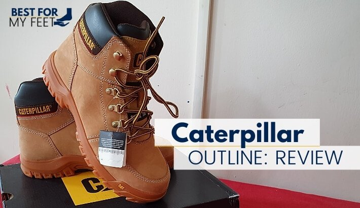 a pair of steel toe work boots from caterpillar called outline