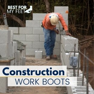 a construction worker laying out concrete blocks whilst wearing a good pair of safety work boots