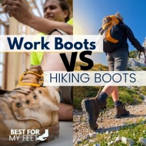 two people in two different scenarios. One wearing a pair of work boots and the other one wearing a pair of hiking boots