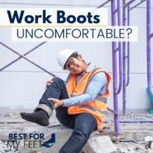 a worker who's showing pain or discomfort due to his working boots