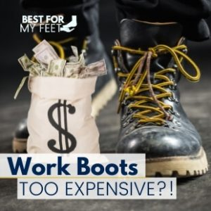 a worker wearing a pair of an expensive pair of work boots