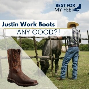 a cowboy sitting next to his horse wearing a pair of Justin work boots