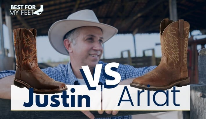 a cowboy looking at two pair of work boots from ariat and justin