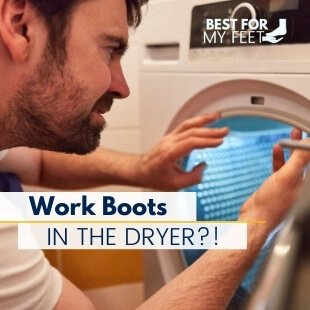 a man in front of the tumble dryer thinking if he should dry his work boots in the dryer or not