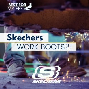 a worker using a pair of work boots and is the main image of the article: Skechers work boots reviews.