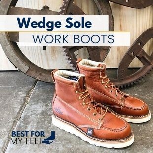 a pair of wedge sole work boots from the brand called Thorogood