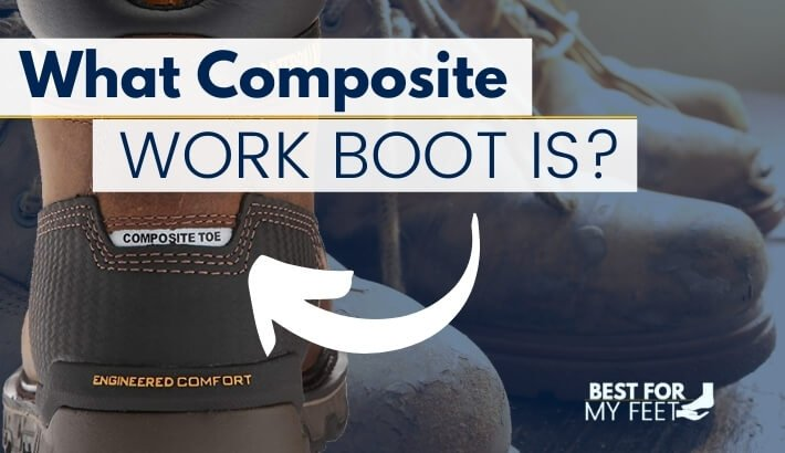 """a work boot that has printed on its leather: """"composite toe"""". That means the toe protection it's not made out of steel"""