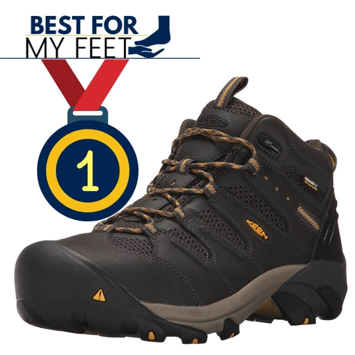 a Keen work boot model and a medal saying this particular model is the best work boots from Keen footwear